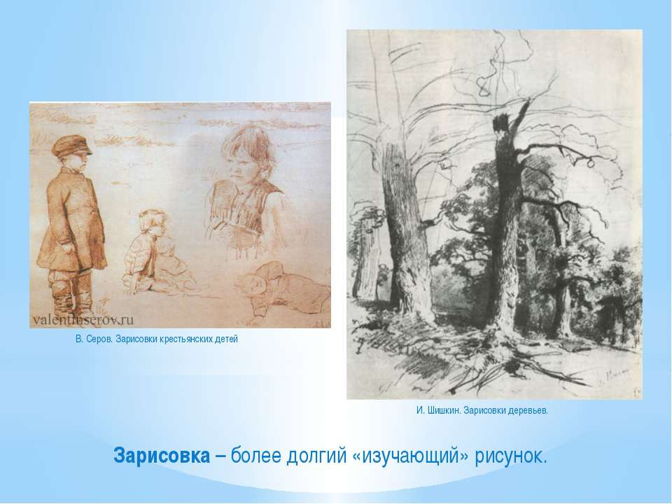 Зарисовка – более долгий «изучающий» рисунок. В. Серов. Зарисовки крестьянски...