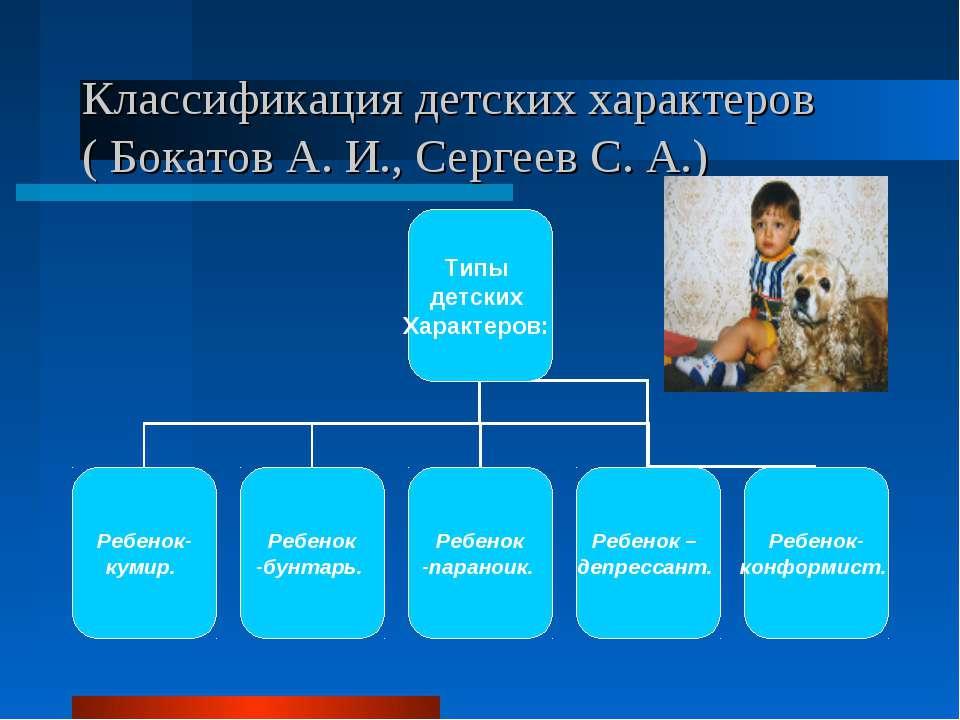Классификация детских характеров ( Бокатов А. И., Сергеев С. А.)