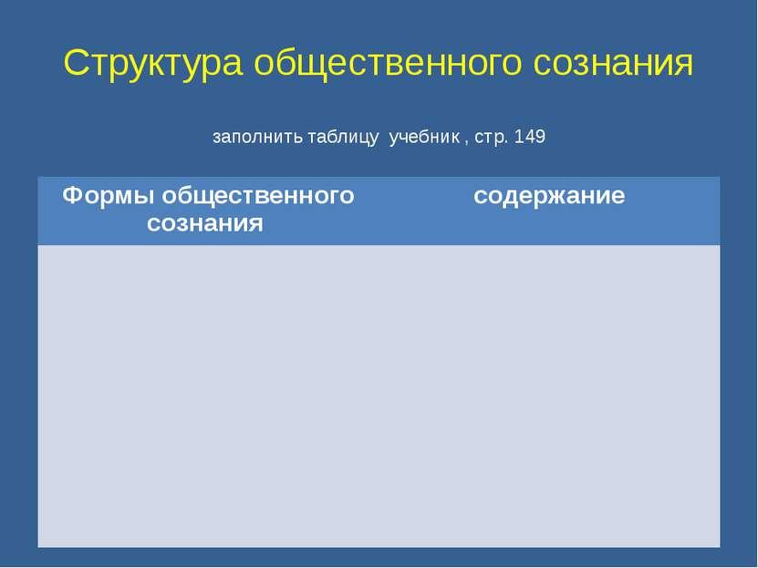 Структура общественного сознания заполнить таблицу учебник , стр. 149 Формы о...