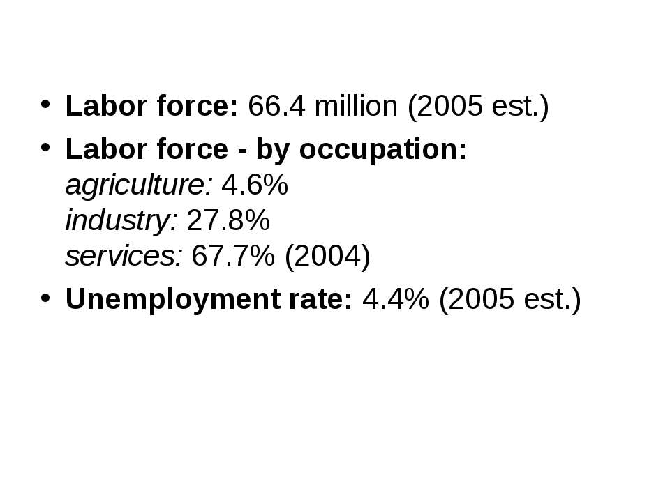 Labor force: 66.4 million (2005 est.) Labor force - by occupation: agricultur...
