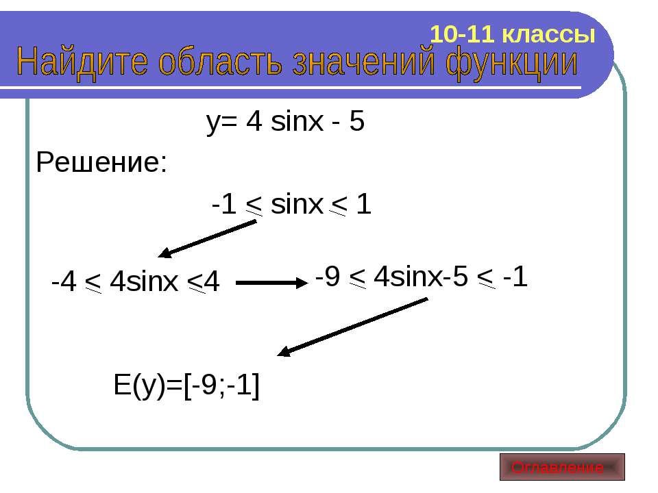 y= 4 sinx - 5 Решение: -1 < sinx < 1 -4 < 4sinx
