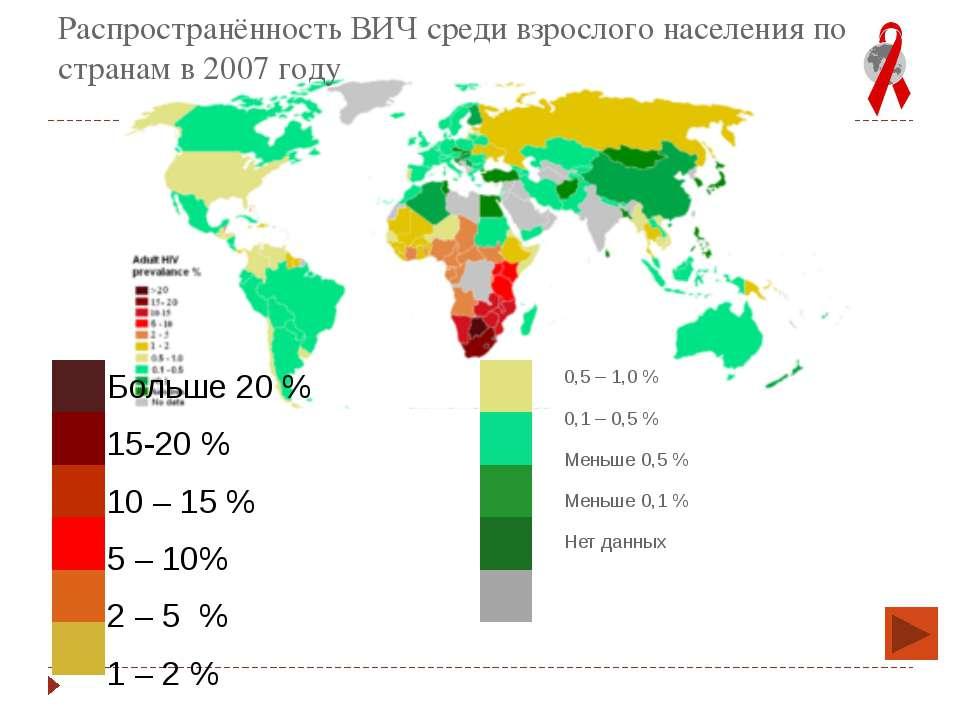 Распространённость ВИЧ среди взрослого населения по странам в 2007году Больш...