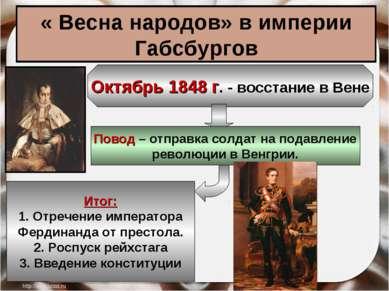 « Весна народов» в империи Габсбургов Октябрь 1848 г. - восстание в Вене Пово...