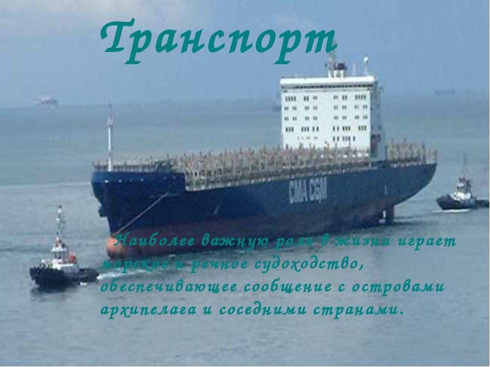 Транспорт Наиболее важную роль в жизни играет морское и речное судоходство, о...
