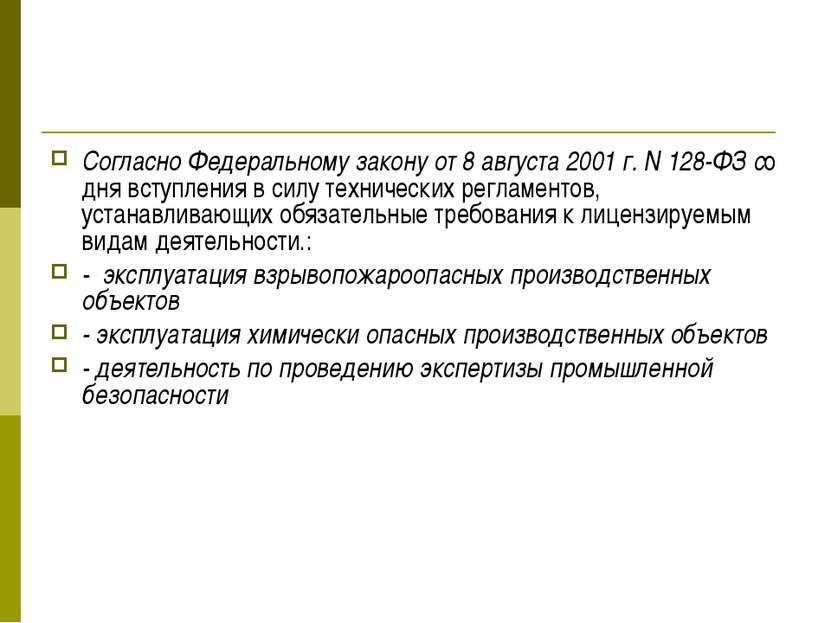Согласно Федеральному закону от 8 августа 2001 г. N 128-ФЗ со дня вступления ...