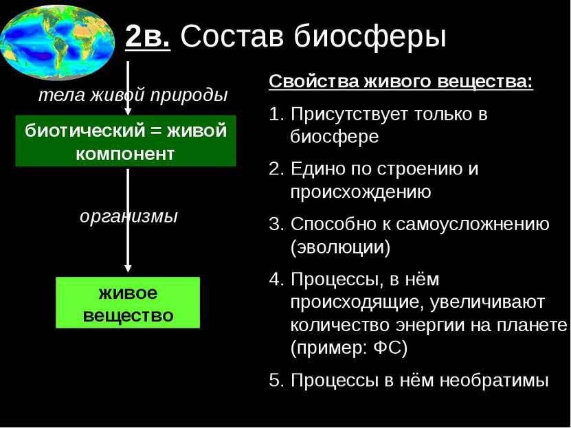 2в. Состав биосферы биотический = живой компонент организмы живое вещество те...