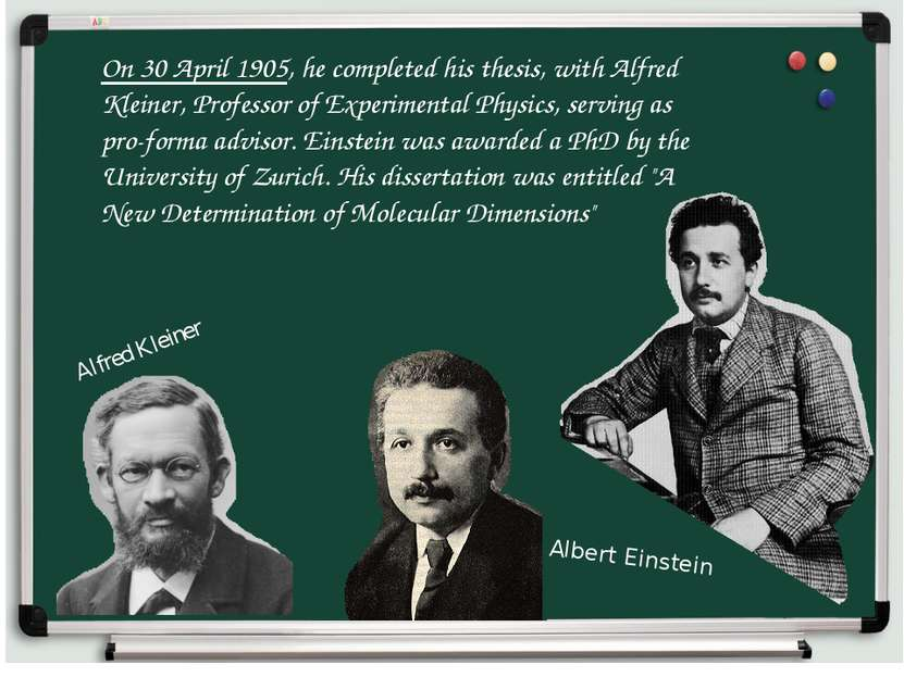 On 30 April 1905, he completed his thesis, with Alfred Kleiner, Professor of ...