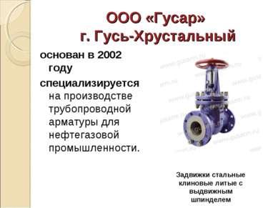 ООО «Гусар» г. Гусь-Хрустальный основан в 2002 году специализируется на произ...
