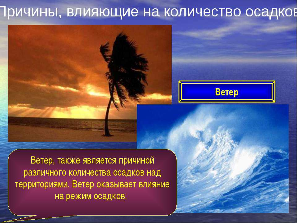 Причины, влияющие на количество осадков Ветер Ветер, также является причиной ...