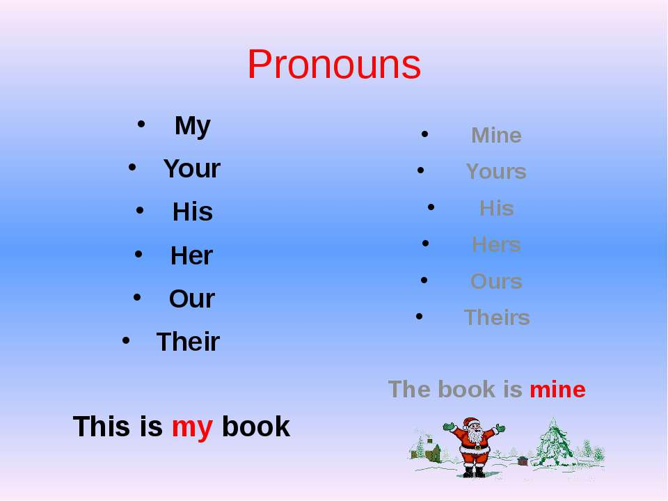 Pronouns My Your His Her Our Their This is my book Mine Yours His Hers Ours T...