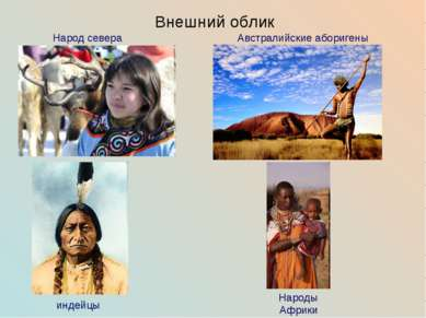 Внешний облик Народ севера индейцы Народы Африки Австралийские аборигены