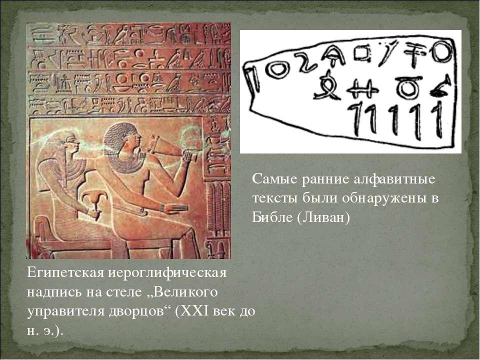 Самые ранние алфавитные тексты были обнаружены в Библе (Ливан) Египетская иер...