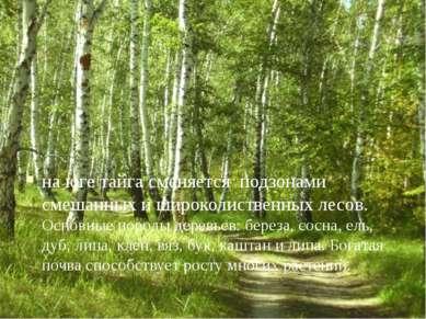 на юге тайга сменяется подзонами смешанных и широколиственных лесов. Основные...