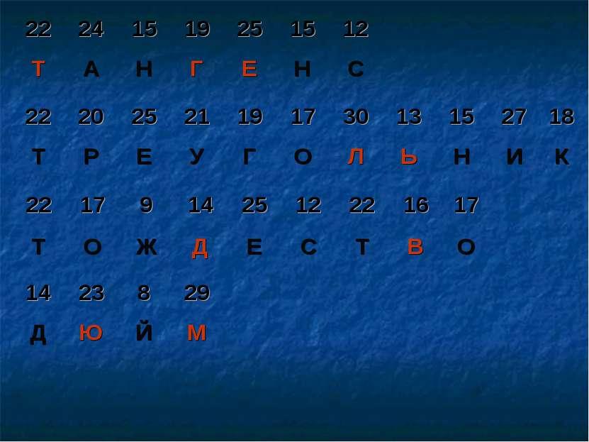 22 24 15 19 25 15 12 Т А Н Г Е Н С 22 20 25 21 19 17 30 13 15 27 18 Т Р Е У Г...