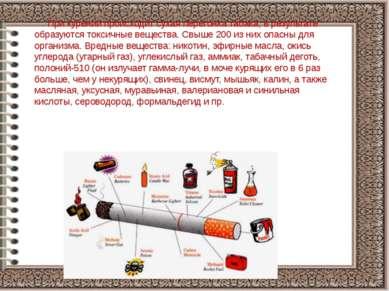 При курении происходит сухая перегонка табака, в результате образуются токсич...