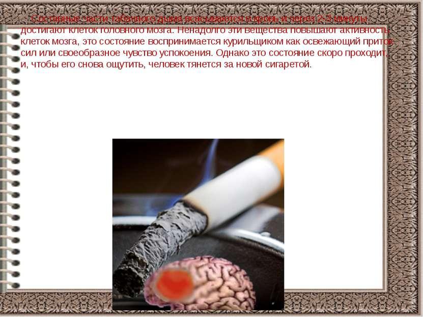 Составные части табачного дыма всасываются в кровь и через 2-3 минуты достига...