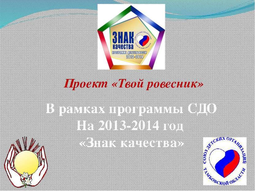 Проект «Твой ровесник» В рамках программы СДО На 2013-2014 год «Знак качества»