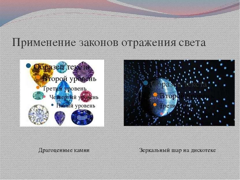 Применение законов отражения света Зеркальный шар на дискотеке Драгоценные камни