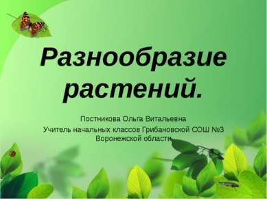 Разнообразие растений. Постникова Ольга Витальевна Учитель начальных классов ...