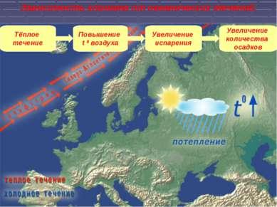 Тёплое течение Повышение t 0 воздуха Увеличение испарения Увеличение количест...
