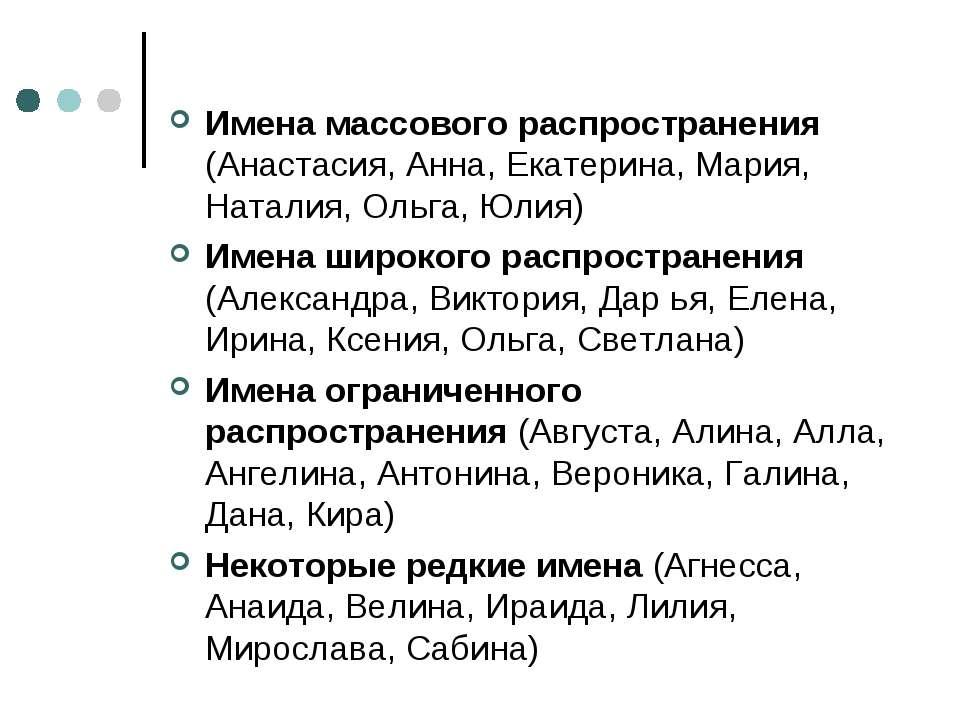 Имена массового распространения (Анастасия, Анна, Екатерина, Мария, Наталия, ...