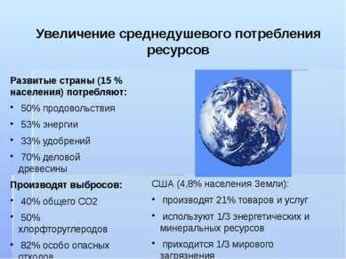 Увеличение среднедушевого потребления ресурсов Развитые страны (15 % населени...