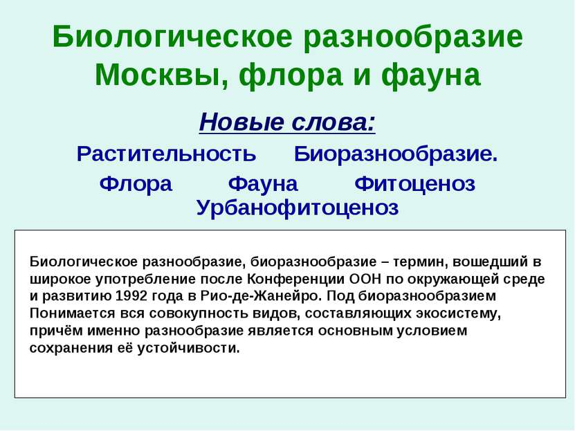 Биологическое разнообразие Москвы, флора и фауна Новые слова: Растительность ...