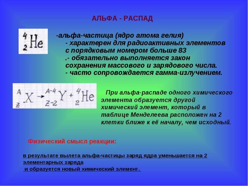 -альфа-частица (ядро атома гелия) -характерендля радиоактивных элементов с ...