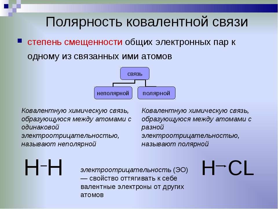 Полярность ковалентной связи степень смещенности общих электронных пар к одно...