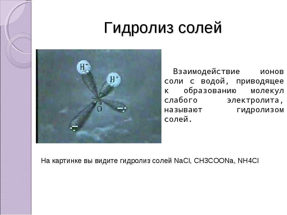 Гидролиз солей Взаимодействие ионов соли с водой, приводящее к образованию мо...