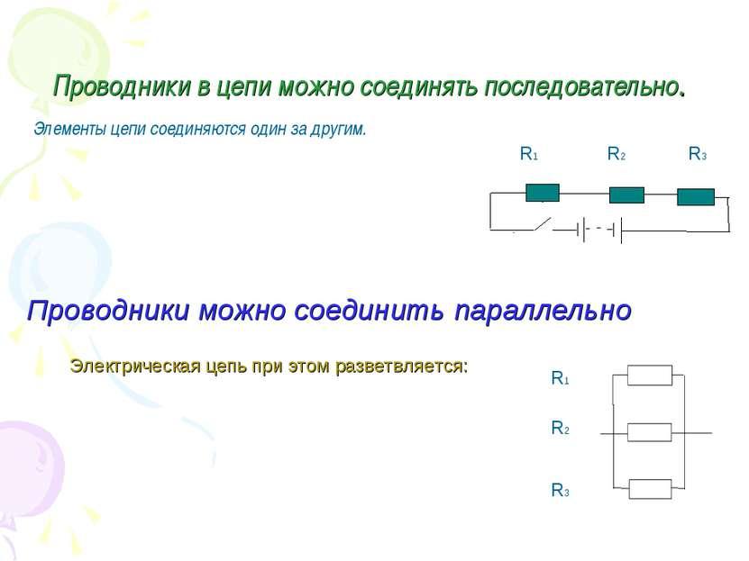 Проводники в цепи можно соединять последовательно. Элементы цепи соединяются ...