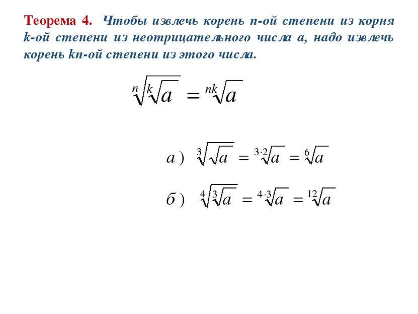 Теорема 4. Чтобы извлечь корень n-ой степени из корня k-ой степени из неотриц...