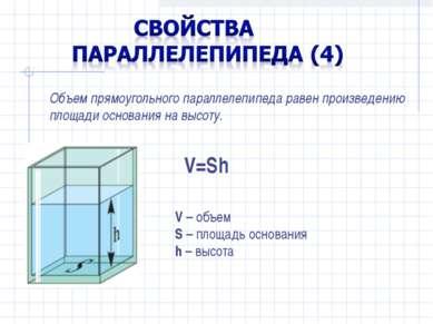 Объем прямоугольного параллелепипеда равен произведению площади основания на ...