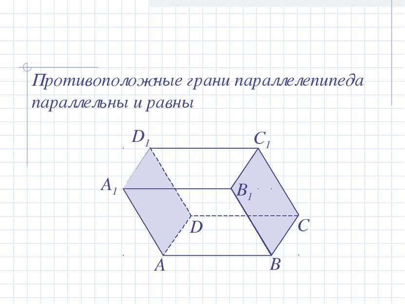 А В С А1 D D1 B1 C1 Противоположные грани параллелепипеда параллельны и равны