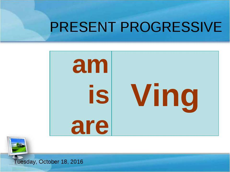 PRESENT PROGRESSIVE Ving be am is are