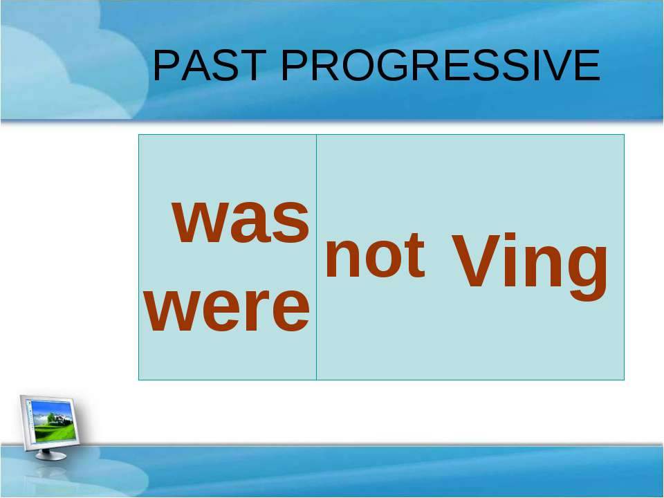 Ving was were PAST PROGRESSIVE not