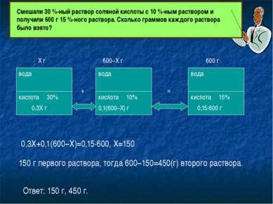 вода кислота вода вода кислота кислота 600 г 15% 10% 30% Х г 600−Х г 0,3Х г 0...