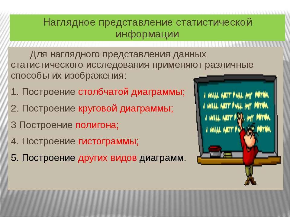 Наглядное представление статистической информации Для наглядного представлени...