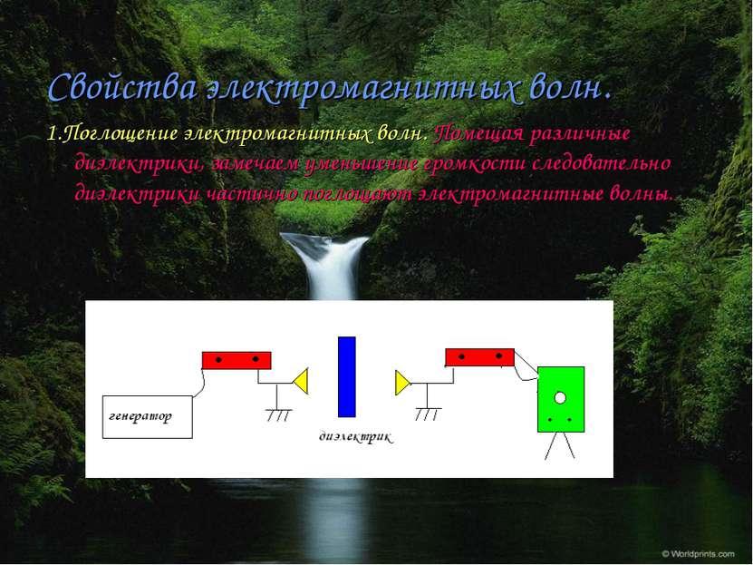 Свойства электромагнитных волн. 1.Поглощение электромагнитных волн. Помещая р...
