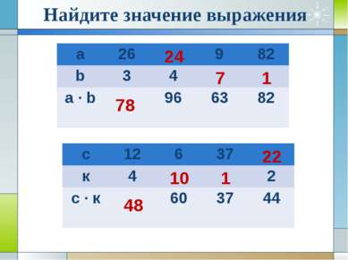 Найдите значение выражения 78 1 22 24 7 1 48 10 а 26 9 82 b 3 4 a · b 96 63 8...