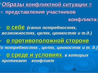 Образы конфликтной ситуации = = представления участников конфликта: - о себе ...