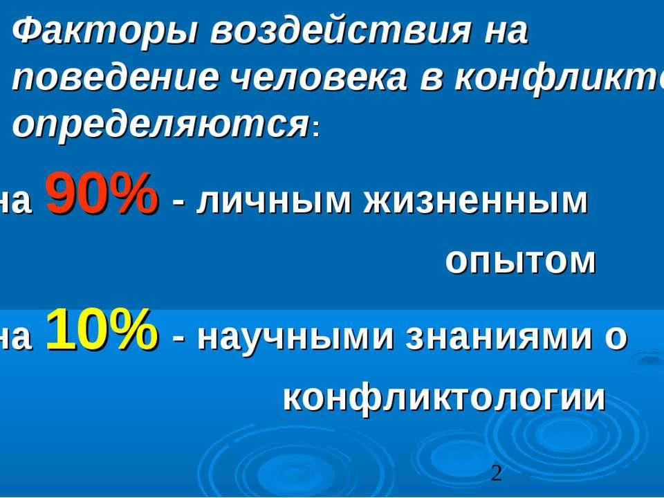 Факторы воздействия на поведение человека в конфликте определяются: на 90% - ...