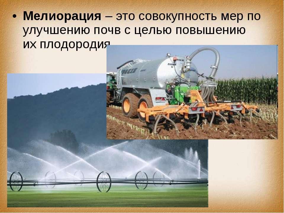 Мелиорация – это совокупность мер по улучшению почв с целью повышению их плод...