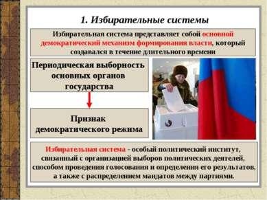 1. Избирательные системы Избирательная система представляет собой основной де...