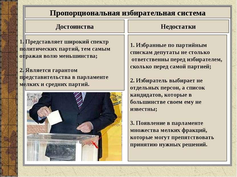 Пропорциональная избирательная система Достоинства Недостатки 1. Представляет...