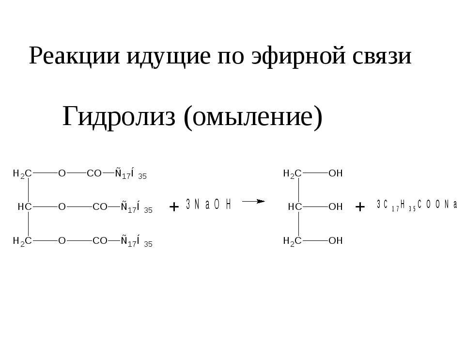 Реакции идущие по эфирной связи Гидролиз (омыление)