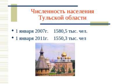 Численность населения Тульской области 1 января 2007г. 1580,5 тыс. чел. 1 янв...