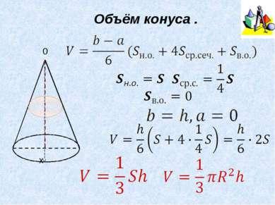 Формула Симпсона b, a – предельные значения высоты геометрического тела, сред...