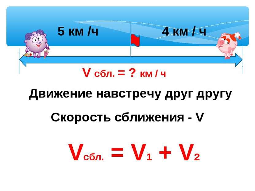 Движение навстречу друг другу Скорость сближения - V Vсбл. = V1 + V2 5 км /ч ...