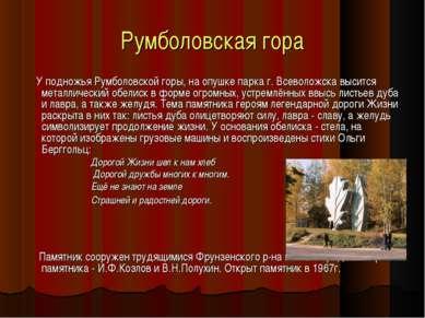 Румболовская гора У подножья Румболовской горы, на опушке парка г. Всеволожск...
